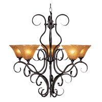 HA Framburg Black Forest 5 Light Chandelier in Mahogany Bronze/Cognac Piastra 1755MB