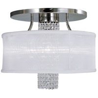 Angelique 1 Light 18 inch Polished Silver Semi-Flush Mount Ceiling Light in Without Crystal, Sheer White