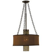 HA Framburg Angelique 1 Light Dinette Chandelier in Mahogany Bronze with Teak Crystal 1953MB/CH/T