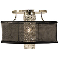 Angelique 1 Light 24 inch Polished Silver w/ Deep Eggplant Sheer Shade Semi-Flush Mount Ceiling Light in Without Crystal