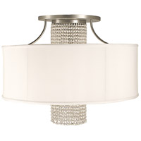 Angelique 4 Light 32 inch Satin Pewter with Opaque White Shade Semi-Flush Mount Ceiling Light in Without Crystal