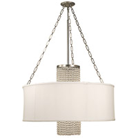 HA Framburg Angelique 4 Light Chandelier in Satin Pewter w/ Opaque White Shade And Clear Crystal 1958SP