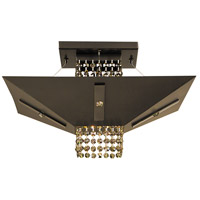Gemini 1 Light 14 inch Mahogany Bronze with Ebony Semi-Flush Mount Ceiling Light in Teak Crystal