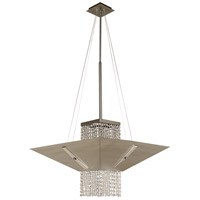 HA Framburg Gemini 1 Light Dining Chandeliers in Satin Pewter/Polished Nickel/Teak Crystal 2005SP/PN/T