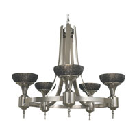 HA Framburg Hyperion 5 Light Dining Chandeliers in Platinum/Black 2035PL/B