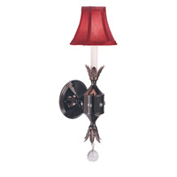 HA Framburg Princessa 1 Light Bath Light in Ebony w/ Red Shade 2061EB/R