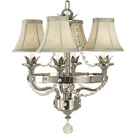 HA Framburg Princessa 4 Light Mini Chandelier in Polished Silver with Silver Beige Shade 2064PS/SB