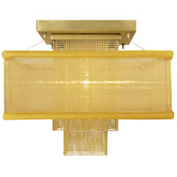 HA Framburg Gymnopedie 1 Light Semi-Flush Mount in Satin Brass w/ Gold Sheer Shade 2117SB
