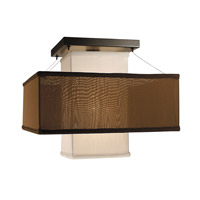 HA Framburg Gymnopedie 1 Light Semi-Flush Mount in Mahogany Bronze w/ White Sheer & Chocolate 2134MB