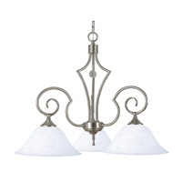 HA Framburg Black Forest 3 Light Chandelier in Brushed Nickel/White Marble 2218BN/WH