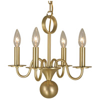HA Framburg Jamestown 4 Light Mini Chandelier in Satin Brass 2244SB