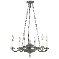 Napoleonic 6 Light 26 inch Antique Silver Dining Chandelier Ceiling Light