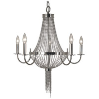 Arabesque 5 Light 24 inch Polished Silver Chandelier Ceiling Light