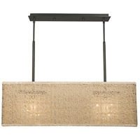 HA Framburg Chloe 2 Light Island Chandelier in Mahogany Bronze w/ Champagne Mesh Shade 2332MB/CM