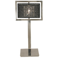 HA Framburg Chloe 1 Light Table Lamp in Polished Silver w/ Black Mesh Shade 2335PS/BM
