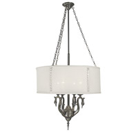 H.A. Framburg Angelique 4-Light Dining Chandelier in Antique Pewter with Opaque White Crystal Shade 2347AP