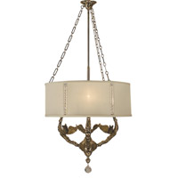 HA Framburg Angelique 3 Light Chandelier in French Brass w/ Beige Crystal Shade 2349FB