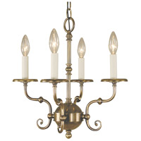 HA Framburg Jamestown 4 Light Mini Chandelier in Antique Brass 2374AB