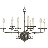 HA Framburg Jamestown 9 Light Chandelier in Antique Silver 2379AS