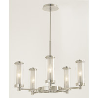HA Framburg Moderne 5 Light Chandelier in Polished Silver 2385PS