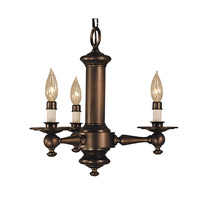 HA Framburg Sheraton 3 Light Mini Chandelier in Siena Bronze 2403SBR