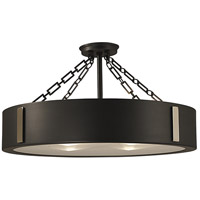HA Framburg Oracle 4 Light Semi-Flush Mount in Charcoal w/ Polished Nickel Accents 2412CH/PN