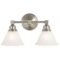 Taylor 2 Light 16 inch Brushed Nickel/White Marble Bath Light Wall Light
