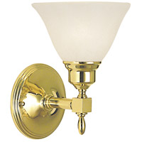 HA Framburg Taylor 1 Light Bath Light in Polished Brass/White Marble 2431PB/WH