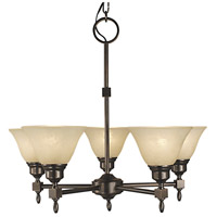 HA Framburg Taylor 5 Light Chandelier in Siena Bronze/Champagne Marble 2435SBR/CM