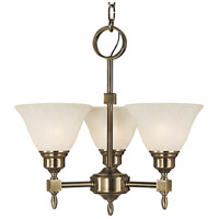 Taylor 3 Light 17 inch Antique Brass Mini Chandelier Ceiling Light in White Marble
