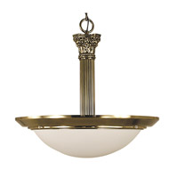 HA Framburg Architectural 2 Light Pendant in French Brass with Sandblasted Alabaster Acrylic Shade 2468FB/SA