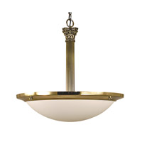 HA Framburg Architectural 4 Light Pendant in French Brass with Sandblasted Alabaster Acrylic Shade 2469FB/SA