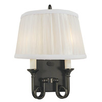 HA Framburg Sheraton 2 Light Bath Light in Mahogany Bronze/White Sheer Pleated Shade 2492MB/WH