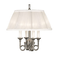 HA Framburg Sheraton 4 Light Mini Chandelier in Satin Pewter with White Sheer Pleat Shade 2494SP/W