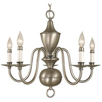HA Framburg Jamestown 5 Light Chandelier in Satin Pewter 2525SP