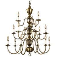 HA Framburg Jamestown 15 Light Foyer Chandelier in Antique Brass 2527AB