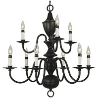 HA Framburg Jamestown 9 Light Chandelier in Matte Black 2529BLACK