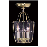 Yorkshire 3 Light 8 inch Polished Brass Semi-Flush Mount Ceiling Light