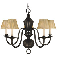 Framburg 2535MB Jamestown 5 Light 26 inch Mahogany Bronze Dining Chandelier Ceiling Light