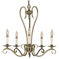 HA Framburg Black Forest 5 Light Chandelier in Antique Brass 2655AB