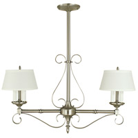 HA Framburg Taylor 6 Light Island Chandelier in Brushed Nickel with Opaque White Shade 2852BN/W