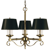 HA Framburg Taylor 9 Light Dining Chandelier in Antique Brass with Black Shade 2853AB/B