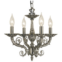 Napoleonic 4 Light 15 inch Antique Silver Mini Chandelier Ceiling Light