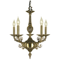 Napoleonic 5 Light 19 inch French Brass Dining Chandelier Ceiling Light