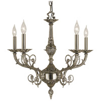HA Framburg Napoleonic 5 Light Dining Chandelier in Antique Silver 2877AS photo thumbnail