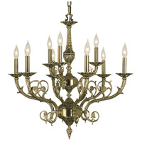 Napoleonic 9 Light 29 inch French Brass Dining Chandelier Ceiling Light