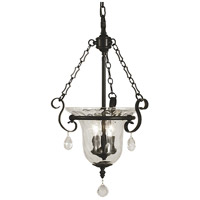 Framburg 2917MBLACK Carcassonne 3 Light 14 inch Matte Black Foyer Chandelier Ceiling Light