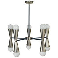 Equinox 10 Light 13 inch Brass Nickel and Matte Black Dining Chandelier Ceiling Light