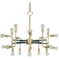 Framburg 3050SB/MBLACK Fusion 20 Light 36 inch Satin Brass and Matte Black Foyer Chandelier Ceiling Light