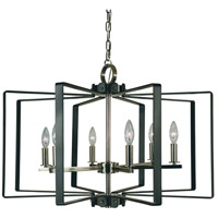 Camille 6 Light 28 inch Polished Nickel and Matte Black Dining Chandelier Ceiling Light
